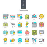 Satz der Linie moderne Farbikonen für E-Commerce Lizenzfreies Stockbild