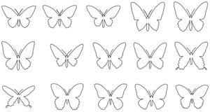 Satz der Linie Schattenbilder der Schmetterlinge Lizenzfreie Stockfotografie