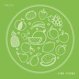 Satz der Linie weiße Ikonen der Frucht im Kreis lokalisiert auf grünem Hintergrund Strenger Vegetarier und gesundes Lebensmittel Lizenzfreie Stockfotografie