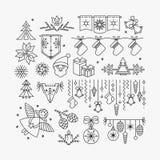 Satz der Linie Weihnachtsikonen und -dekorationen Lizenzfreie Stockfotografie