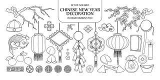 Satz der lokalisierten chinesischen Dekoration des neuen Jahres Nette Hand gezeichnetes vec vektor abbildung