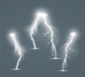 Satz der lokalisierten realistischen Blitze mit Transparenz für Design Lizenzfreies Stockbild