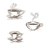 Satz der lokalisierten Vektorillustration der Kaffeetassen auf einem weißen Ba vektor abbildung