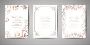 Satz der Luxusweinlese-Hochzeits-Abwehr das Datum, Einladung kardiert Sammlung mit Goldfolien-Rahmen und Kranz Modische Abdeckung lizenzfreie abbildung