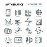 Satz der modernen dünnen Linie Ikonen für Mathe lizenzfreie abbildung
