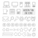 Satz der modernen dünnen Linie Ikonen für Netz, Vektor Lizenzfreies Stockbild