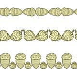 Satz der nahtlosen dekorativen Grenzen mit Eicheln stock abbildung