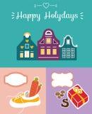 Satz der netten Grußkarte für Heilig-Nicholas Sinterklaas-Tag w Stockfotos
