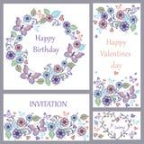 Satz der netten Grußkarte mit Schmetterlingen und Herzen für Geburtstag, Hochzeit, Glückwunsch, Einladung lizenzfreie abbildung