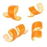 Satz der orange Schale der Locke lokalisiert auf weißem Hintergrund Lizenzfreie Stockfotos