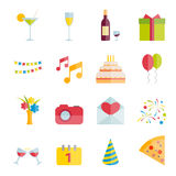 Satz der Partei und Feier vector flache Ikonen Lizenzfreie Stockbilder