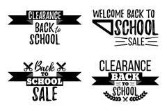 Satz der Räumungsverkauf-Schule typografisch Lizenzfreie Stockfotografie