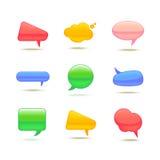Satz der realistischen Glasvektor-Sprache-Blase Stockbild