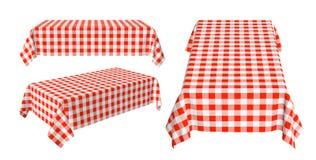 Satz der rechteckigen Tischdecke mit rotem kariertem Muster Stockfotos