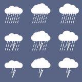 Satz der regnerischen Ikone für Wetter- oder Klimaprojekt Stockbilder