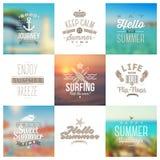 Satz der Reise und Ferien schreiben Embleme und Symbole Stockbild