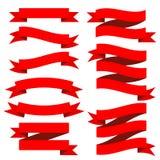 Satz der roten Bandsammlung Stockbild