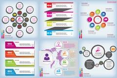 Satz der sauberen Zahlfahne des modernen Designs mit dem Geschäftskonzept verwendet für Websiteplan Infographic Lizenzfreies Stockbild