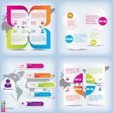 Satz der sauberen Zahlfahne des modernen Designs mit dem Geschäftskonzept verwendet für Websiteplan Infographic Stockfotos