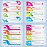 Satz der sauberen Zahlfahne des modernen Designs mit dem Geschäftskonzept verwendet für Websiteplan Infographic Lizenzfreie Stockfotografie