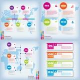Satz der sauberen Zahlfahne des modernen Designs mit dem Geschäftskonzept verwendet für Websiteplan Infographic Stockbild