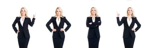 Satz der schönen, attraktiven Geschäftsfrau lokalisiert auf Weiß BU Stockfoto