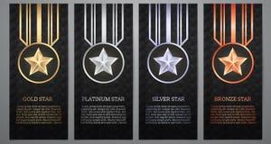 Satz der schwarzen Fahne, Gold, Platin, Silber und Bronze spielen, Vect die Hauptrolle stockbilder