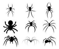 Satz der schwarzen Schattenbildspinnenikone Lizenzfreie Stockbilder
