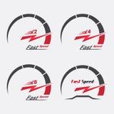 Satz der Skala mit vier Geschwindigkeitsmessern Stockbilder