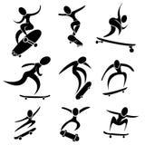 Satz der Skateboardikone in der extremen Aktion stock abbildung