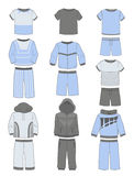 Satz der Sportkleidung für Jungen Stockfotos