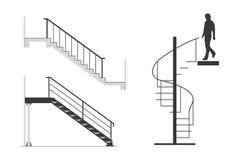 Satz der Stahltreppe mit Schattenbild des Mannes gehen Wendeltreppe, Vektorillustration hinunter Lizenzfreies Stockfoto