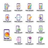 Satz der Telefonlogoschablone, Biologie hüllt Ikone, Note, Grün oder Blatt, Entdeckung, Anmerkung, Anfang, Statistik oder Finanzi Lizenzfreie Abbildung