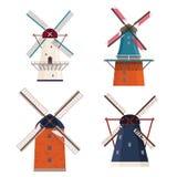 Satz der traditionellen ländlichen Windmühle lizenzfreie abbildung