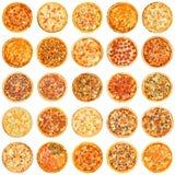 Satz der unterschiedlichen Art der Pizza Stockfotos