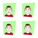 Satz der unterschiedlichen emotionalen Ausdruck-junger Mann-Gefühl-Sammlung lizenzfreie abbildung