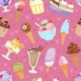 Satz der unterschiedlichen Musterhintergrundkarikaturnachtisch-Vektorillustration der Eiscreme nahtlosen Stockfotos