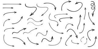 Satz der Vektor gebogenen Pfeilhand gezeichnet Skizzengekritzelart vektor abbildung