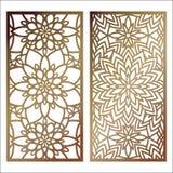 Satz der Vektor-Laser-Schnittplatte Musterschablone für dekoratives p Lizenzfreie Stockfotografie
