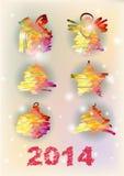 Satz der Vektor Weihnachtsdekorativen Illustration Stockbilder