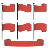 Satz der Vektorikonenroter fahne, rotes Band Stockbild