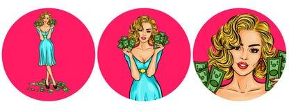 Satz der Vektorillustration, Avataraikonen der Pop-Art der Frauen runde Lizenzfreie Stockfotografie