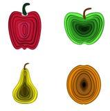Satz der Vektorillustration 3d Früchte Birne, Apfel, Paprika und Aprikose gemacht in Papier-three-dementional Art bunt Stockfotos