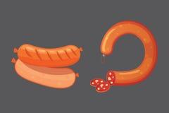 Satz der Vektorkarikaturwurst Speck, geschnittene Salami und geraucht gekocht Lokalisierte neue Delikatessenikonen gegrillt lizenzfreie abbildung