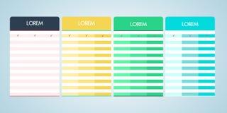 Satz der Vektorpreiskalkulationstabelle im flachen Design Stockbilder