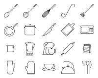Satz der in Verbindung stehenden Vektorlinie Ikonen der Küche Stockfotografie