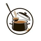 Satz der Wanne, der Suppe und des Schöpflöffels Lizenzfreies Stockfoto