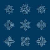Satz der weißen Schneeflocke Lizenzfreie Stockbilder