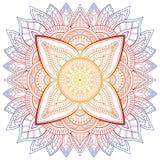 Satz der Weinlese Hochzeits-Einladungskarte mit Mandalamuster und in der Farbe Meditationselement für Indien-Yoga Verzierung lizenzfreie abbildung