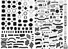 Satz der Weinlese redete Designhippie-Ikonen Vektorzeichen an und Symbolschablonen rufen, Geräte, Sonnenbrille, mustac an Lizenzfreies Stockfoto